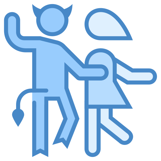 Dance With Devil icon. There is a person with horns, a tail and two hooves for their feet having fun dancing with another person who is wearing a dress and joining them in dance.