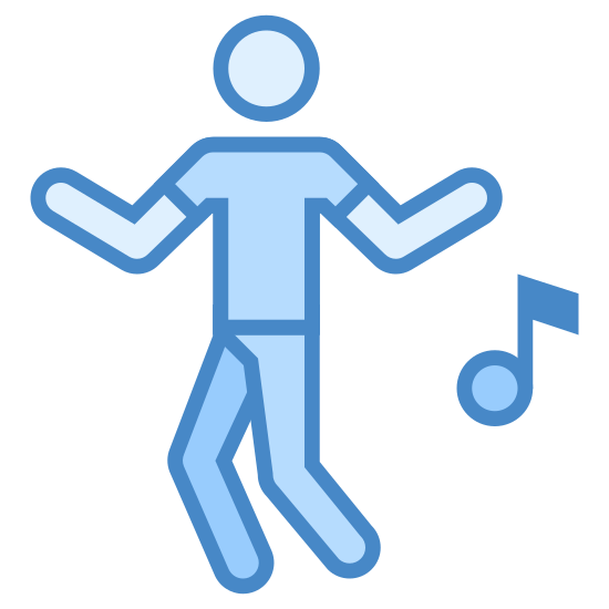 Taniec icon. An icon of dancing consists of a man or woman standing up and his or her legs and arms are moving around. The icon will also have a music note next to the person to show that music is being played and the person is dancing to it.