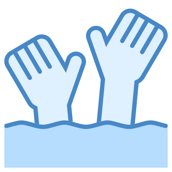 Dangerous Current icon. It's a logo of two lines of waves with two hands coming out of them as if they need help. The waves are close together and each has four wave points and the hands are as if one person may be drowning.