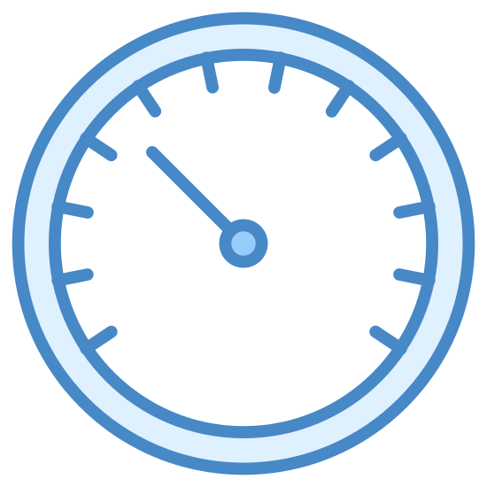 Dashboard icon. The icon is a radial dial with nine hash marks going around the top of the circle. Within the circle is one hand which points to the right on what would be the 7th mark from the left.