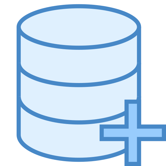 Odzyskiwanie danych icon. The icon is a picture for Data Recovery. It is the shape of 3 checker-piece like discs stacked on top eachother, with a plus symbol located on the bottom right.