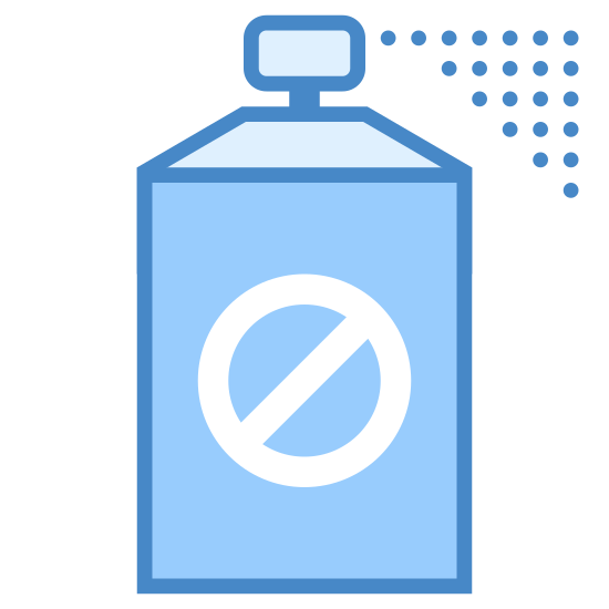 Insecticide icon. The deadly spray icon is a bottle with a lid on the top. On the bottle there will be a circle and inside the circle there is a diagonal line to show it should not be used. The top of the cap there are little dots coming out to show that there are particles coming out of the bottle.