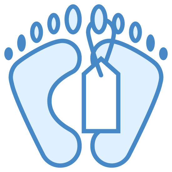 Death icon. It is the icon for death. It consists of an outline of the bottom soles of 2 feet. A toe tag that is square with a pointed top hangs down from the right big toe.