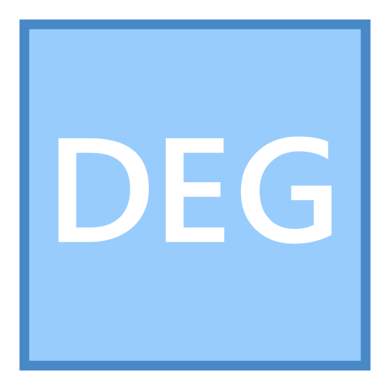 "Stopień icon. This is a picture of a box or page that has rounded corners. in the center of the box are the letters ""DEG"" in a horizontal direction. they are all capital letters."
