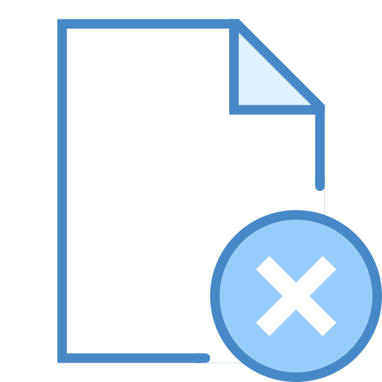 Delete File icon. This icon is what looks to be a rectangular piece of paper with the top right edge of it folded down. That edge forms a right angle. On the bottom right is a huge X.
