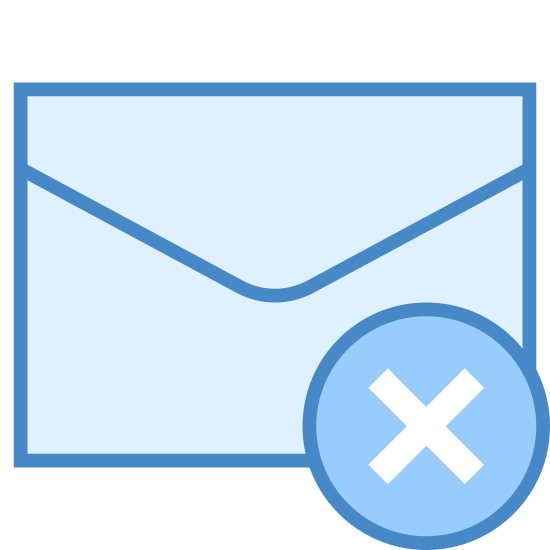 """Deleted Message icon. The icon for Deleted Message is mostly in the shape of an envelope. It has a circle that has an """"x"""" in the middle of it, located on the bottom right hand corner."""