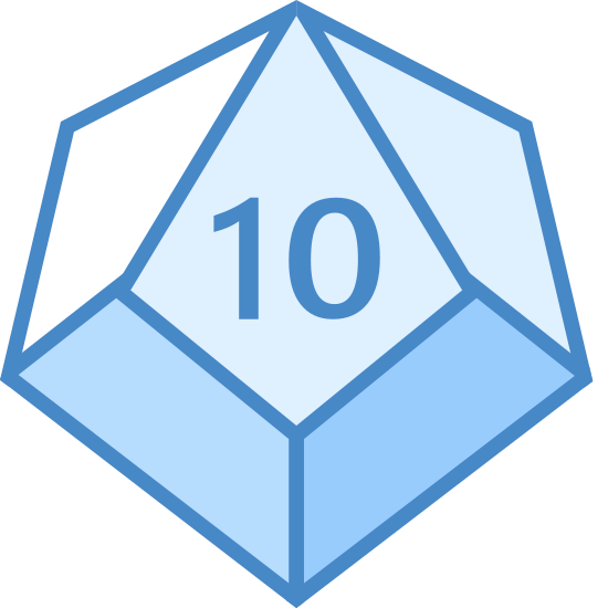 Deltohedron icon. This logo is shaped like an object but it is not easy to explain. It almost looks like some kind of jewel and has many sides to it. The number ten is written on the top of it and maybe it has ten sides.