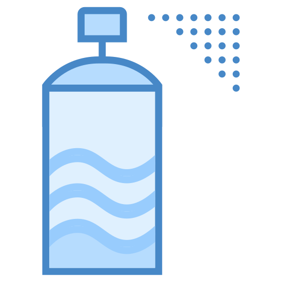 Dezodorant w sprayu icon. This is an image of a tall cylindrical can with a pointed top. At the top of it there is a little button there the spray comes out. On the cylindrical can is a little circle where the label of the product would be.