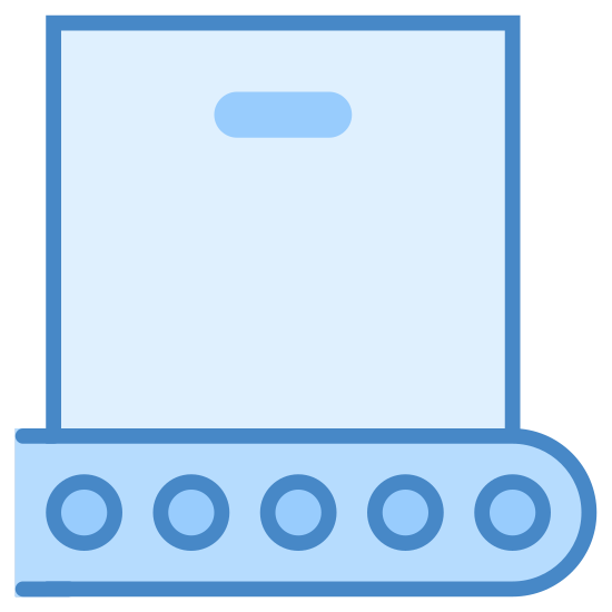 Deployment icon. A square with a very thin oval inside the center top part of it. Underneath the square after a small gap of space is a long oval with a curved ending on the left and three small circles spaced horizontally inside.