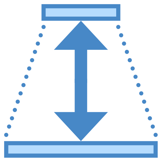 Depth icon. This image is composed of a trapezoid.  The top and bottom sides of the trapezoid are solid lines and the diagonal sides are dotted lines.  In the center of the trapezoid is a unequally sized double sided arrow with the smaller arrow at the top and the larger arrow at the bottom.