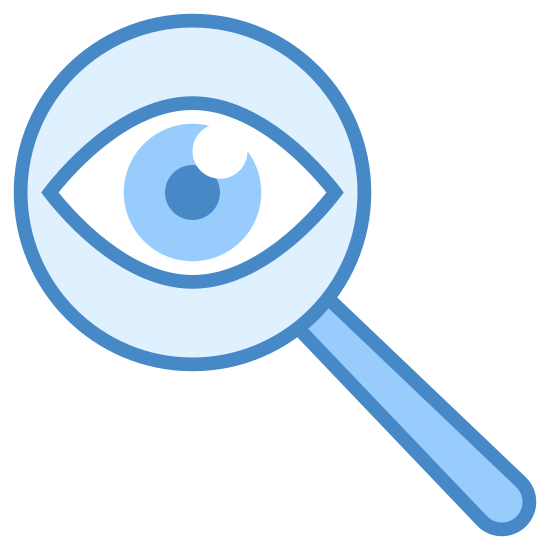 Detective icon. The icon consists of a stylized eye within a magnifying glass. The eye is composed of curved lines and a solid black circle, and the magnifying glass is the standard circle with a rectangle handle. This symbolizes an eye investigating something.