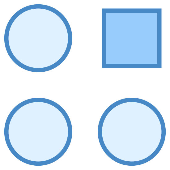 Deviation icon. These are four circles and a square, aligned in a four by four pattern. The top-right shape is the square.