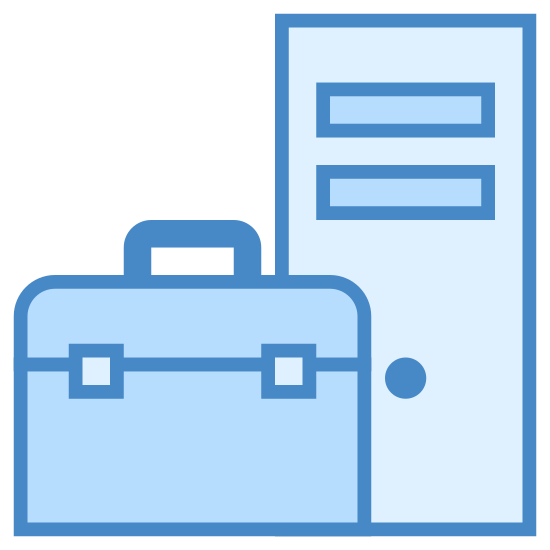 Menadżer urządzeń icon. It's an icon of a Device Manager. There is a smartphone with the camera facing forwards. In front of the camera is one of those metal toolboxes with the metal latches on the side.