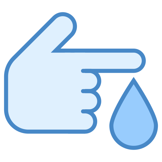 Diabetes icon. There is an image of a hand with all fingers closed except for the index finger which is extended outward in a pointing gesture. There is a drop of something(presumably blood) falling from the tip of the finger.