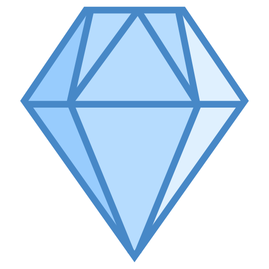 Diamond icon. This icon is the standard depiction of a diamond. It is the kind you associate with jewelry, a flat top, with geometrically cut sides, and comes together in a sharp, triangular bottom.