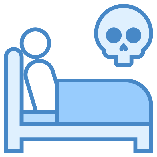 Umrzeć w łóżku icon. There is a bed frame with a headboard on the left side. A circle representing a person's head is lying down with a rectangle as blankets next to them. Above the bed is a large floating skull.