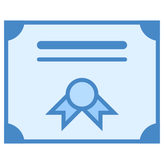 Diploma icon. The icon is shaped like a square but the bottom center of it does not connect. At the bottom center is a star shape with curved corners and hanging from it is a ribbon-shape. Above the star shape are 3 horizontal lines one on top of each other.