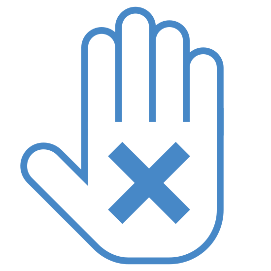 Disclaimer icon. An outline of a hand is held up facing you with an X in the palm. The hand has its fingers placed together, in a motion where it wants you to stop.