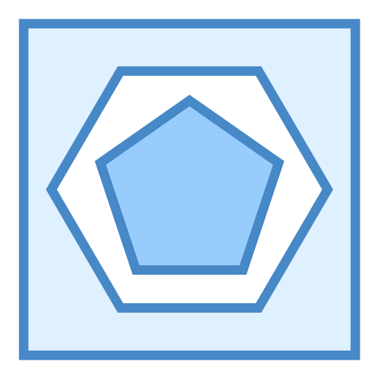 Rozbieżność icon. The image is a large square. Inside the square is a smaller six sided hexagon. Inside the hexagon is the smallest shape. It's a pentagon. All shapes have a flat side on the bottom.
