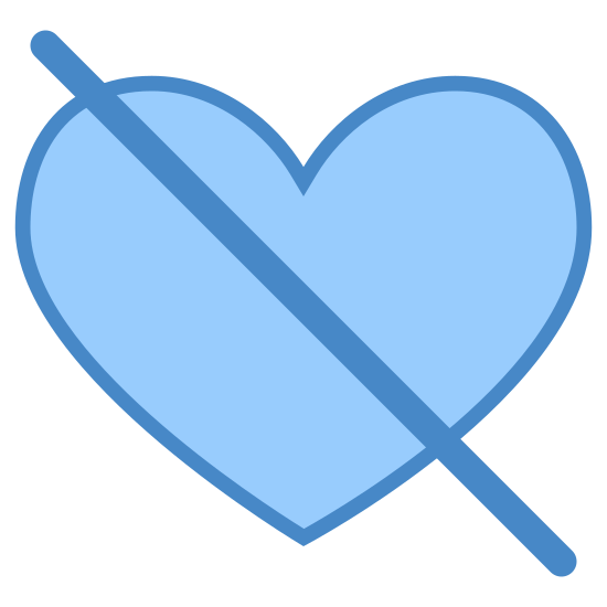 Gefällt nicht icon. A dislike icon is represented with a broken heart. A heart shape has a curvy sides and on the top it is curved downwards, but it is still connected on the bottom. However, a broke heart is shown with a crack in the middle because you usually dislike a person because they have hurt you.