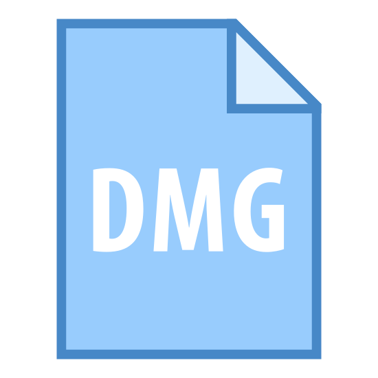 DMG icon. The icon is a piece of paper with A4 proportions, with one folder folded in, with DMG depicted on it. This symbolizes a Mac application installer, for use with Mac OS X devices.