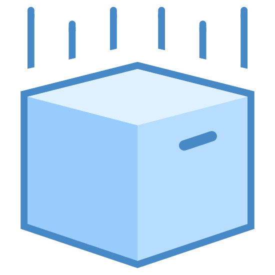 Nie upuszczać icon. This is a picture of a cube that appears to be falling to the ground. Under it is a shape with 5 pointed edges and above it are 4 lines. 2 are small, 2 are big.