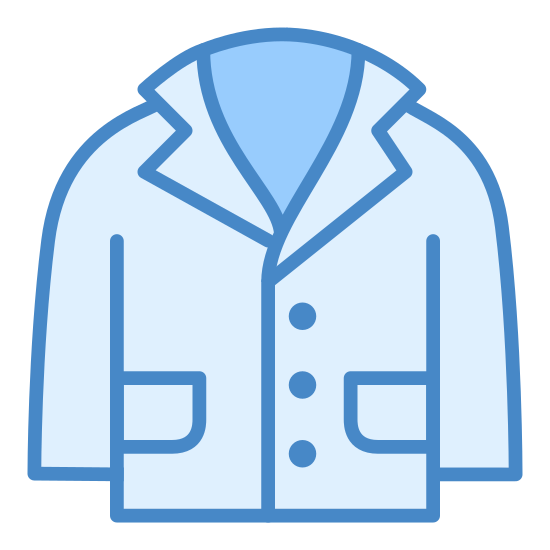 Lab Coat icon. This is the lab coat a doctor or scientist would wear. It opens right down the middle and has three buttons to secure it closed. It has two large pockets on the lower half on each side of the coat as well as one smaller pen pocket at the top half of one side.