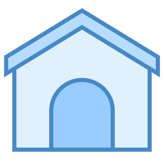 Psia buda icon. This is a small square house with a triangular roof. The front has a small opening where a dog is able to come and go. This Windows 8 icon is considered a house made for a dog.