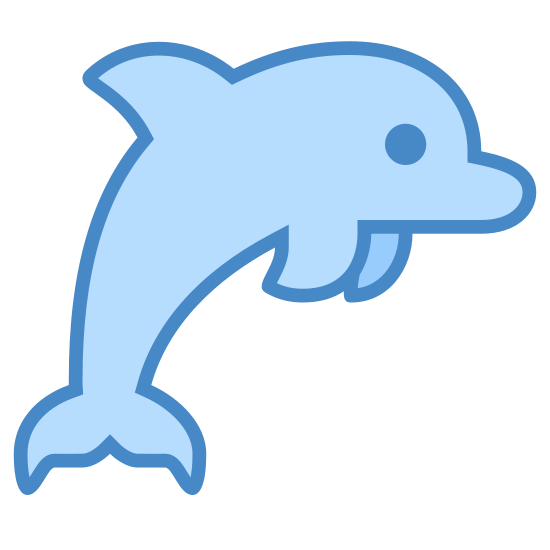 Dolphin icon. The icon is of a dolphin. It has a fin on it's back, a tail, and two smaller fins on the bottom to help it swim. It's positioned like it's jumping out of the water.