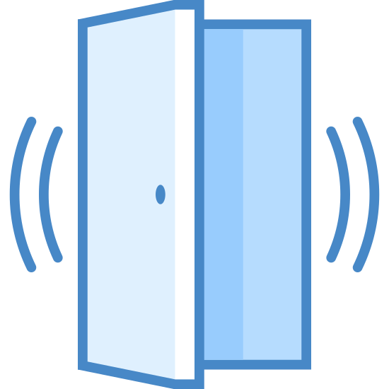 Czujnik drzwi uruchomiony icon. This icon is in the shape of a door, the door is open about half way. You can see the door frame and the door has a handle. On both sides of the door are two sets of curved lines. The lines are curving away from the door and are close together.