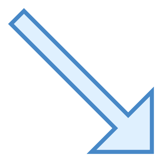 "Down Right icon. This icon for ""down right"" is depicted as an arrow. The arrow points downwards and to the right. The head of the arrow looks like a backwards facing letter L, with the tail of the arrow coming out of the L."