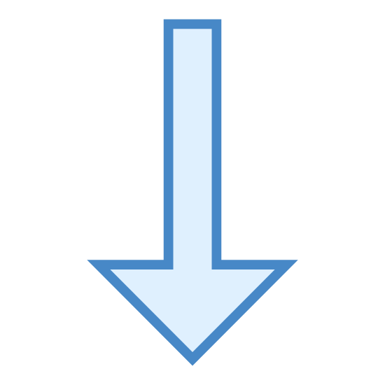 W dół icon. It is an arrow pointed down. The arrow is black on a solid background. There is one solid vertical line. From the bottom of that line there are two smaller black lines extending diagonally up to the right and left at 45 degree angles.
