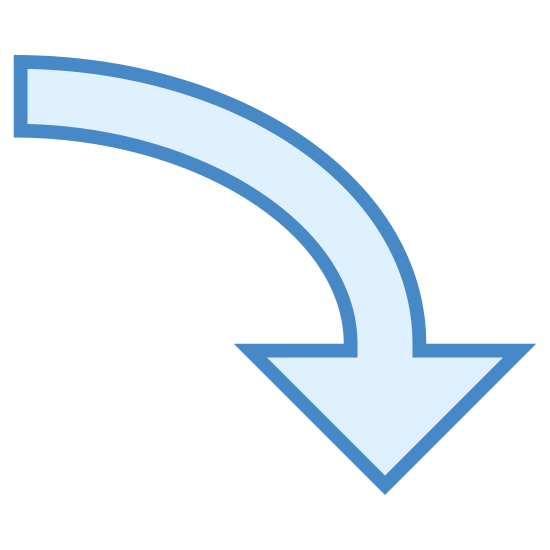 Downward Arrow icon. This is an image of a block style arrow. It is pointing down and the tail is curved in a way that implies motion.