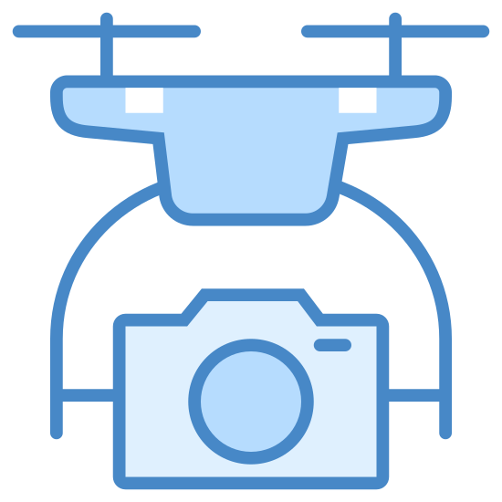 Drone z aparatem icon. The icon is of a small drone with four appendages. Two of them are curving upwards and have horizontal propellers on the ends, and the other two appendages that curve downwards and have a camera being held between them.