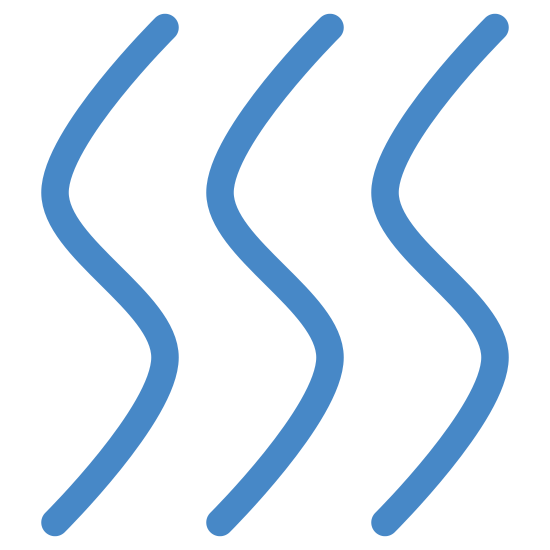 Dry icon. It consists of three identical squiggly lines aligned parallel to one another. All three lines look some what like the letter 'S.' The curves are a bit smaller though, creating a more vertical shape.