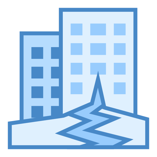 """Earthquakes icon. This icon represents an earthquake. It has two tall buildings, with one building in the foreground and the other building behind the first, and positioned to the right. They are on the ground, but the ground is cracked open from the """"ground"""" to the middle of the building in the foreground. Both buildings are not level, and skewed to the sides of the icon at a slight angle."""