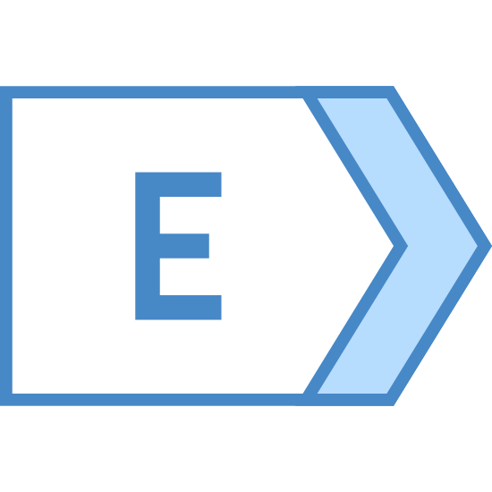 East icon. This is a logo to describe the direction East. In the center of the shape is the capital letter E. The shape it's inside of are two identical long lines on the top and bottom, then two more lines coming to a point.