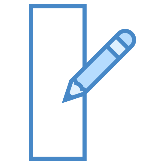 Edytuj kolumnę icon. It's the image of a piece of paper, with a writing utensil positioned above the paper as if it were writing.  The writing utensil has an angle as if it were being held in a right hand.