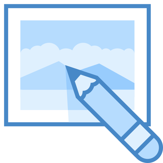 Edytuj obraz icon. The edit image symbol is a pencil inside of a photo frame. The edges of the photo frame are rounded. There are two roundings on the sides and three on the top and bottom.
