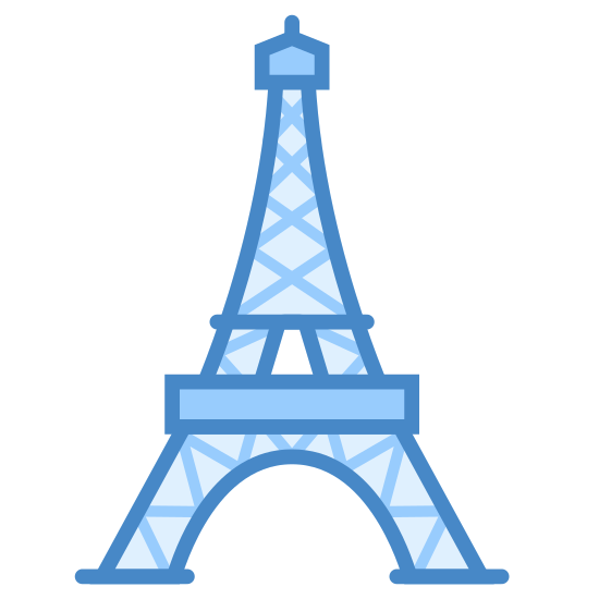 Eiffel Tower icon. This icon represents the Eiffel Tower. It is object that is small at the top and goes into a large wide bottom. The top has a straight point peak. It is separated into seven sections with two arched legs at the bottom.