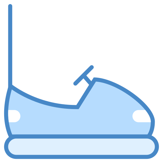 Elektryczny samochód zderzak icon. It's a logo of an electric bumper car. There's a long thin curved rectangle on the bottom and then a curved top that represents the body of the car that sort of looks like a shoe, with a wheel in the top middle and a line going up on left where it connects to the electricity.