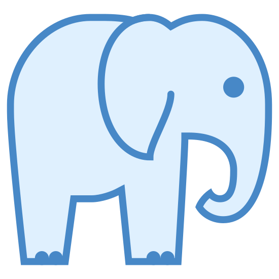 Elephant icon. This is a picture of an elephant from a side view. it's trunk is curled under towards it's mouth, and it's eye is just a dot. it's ear is next to it's body and it has two legs that are visible with tiny toes.