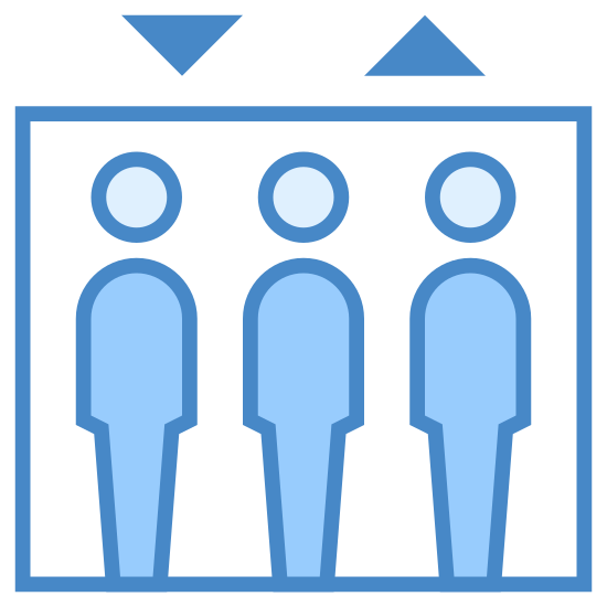 Elevator icon. There is a rectangle with three bodies inside. Above the rectangle are two triangles. The triangle on the left has one corner pointed up. The triangle on the right has on corner pointed down. The bodies are all the same size and they are side by side.