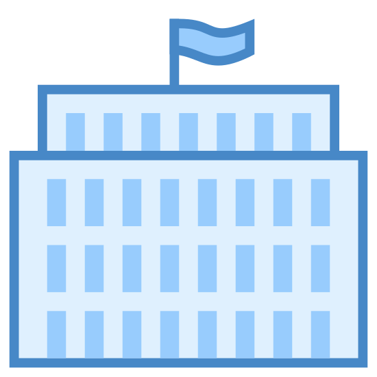 Ambasada icon. It's a logo for an embassy with a building. The building is made up of a large rectangle with a smaller one on top. There is a flag floating above the building and twelve windows in two rows of six on the main large rectangle.