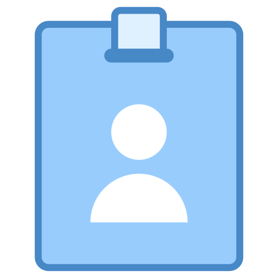 Badge d'employé icon. This is an Icon of an Employee Card reduced to a card with a picture of a human on it. The human is centered on the middle of the card. There are two lines of writing underneath the human, possible identifiers.