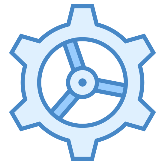 Inżynieria icon. It's a gear with black outlines on a white background. There are eight squared points on the gear with two circles on the inside that make a hole for other fittings.