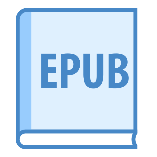 "EPUB icon. A rectangular sheet of paper with a small corner folded over in the top right hand corner position stands upright. The word ""EPUB"" in upper-case letters is placed approximately three-quarters down on the paper."