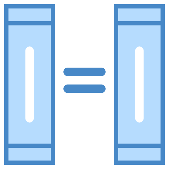 Equivalent icon. This particular icon has two upright rectangle shapes with two horizontal short black lines that looks like an equals sign.  The two rectangle shapes has black lines in them, also.