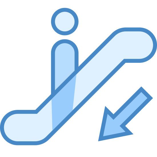 Escalator Down icon. This icon represents escalator down. It is a circle for a head on a body in the middle of a rectangle shape with a curve on each end. There is an arrow pointing down at the bottom of the rectangle.