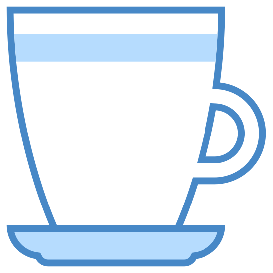 Filiżanka espresso icon. This is an image of the side of a mug.  The mug is facing towards the left of the image and has a handle on its right.  The mug is sitting on top of a saucer.